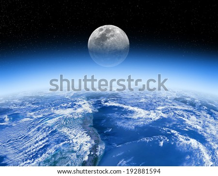 Moon rising behind the Earth's atmosphere. Small stars are in background. Elements of this image furnished by NASA/JPL.  - stock photo