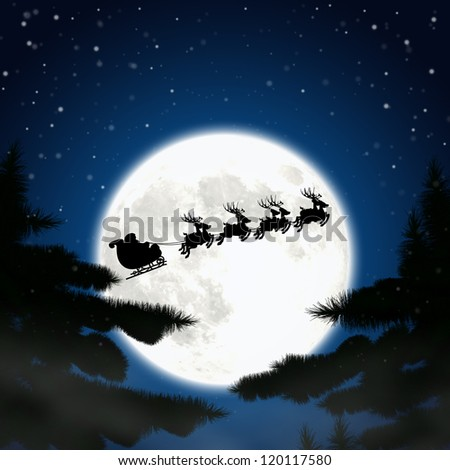 Moon santa claus and reindeer in the window. - stock photo