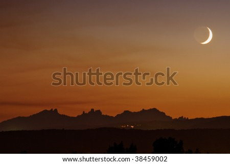 Moon setting over Montserrat, Catalonia, Spain