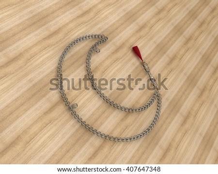 Moon Shaped Islamic rosary beads | Masbaha | Tasbih | 3D Illustration | Crystal on Wood - stock photo
