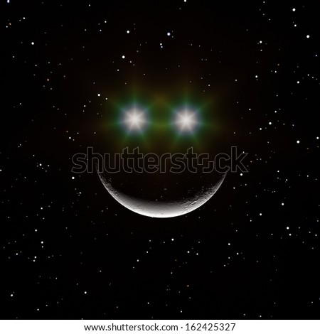 Moon Smile. Rendering of the moon with two bright lights creating a happy face over a starry background.