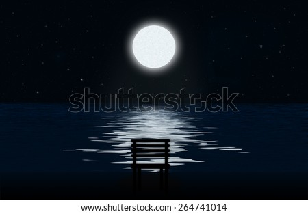 Moon, the stars and moonlit path on the water surface and silhouette of chair - stock photo