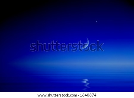 Moon & Venus - stock photo