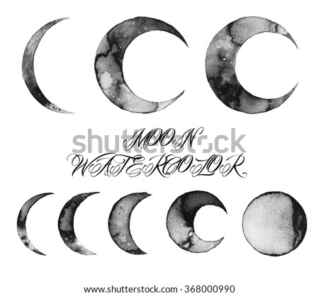moon watercolor illustration, design texture
