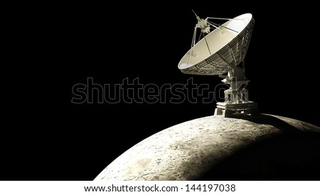 Moon with big satellite dishes antenna (Doppler radar) isolated on black 3d render High resolution - stock photo