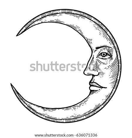 Moon With Face Engraving Raster Illustration Scratch Board Style Imitation Hand Drawn Image