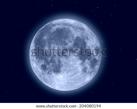 Moon with stars seen through a telescope (Photo made by me through my own telescope, no NASA images used) - stock photo