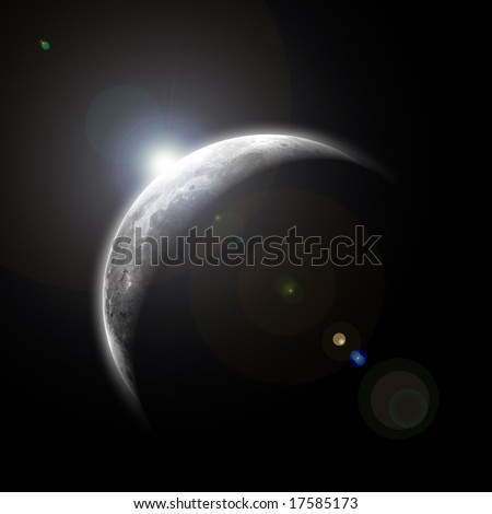 moon with sunrise in space