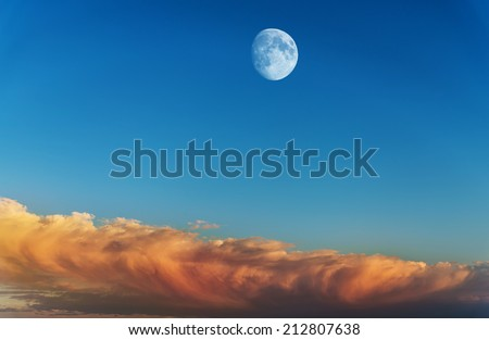 Moon with sunset sky background.  - stock photo