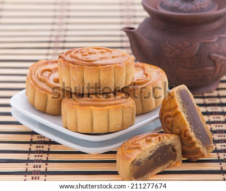Mooncake ,Chinese mid autumn festival food - stock photo