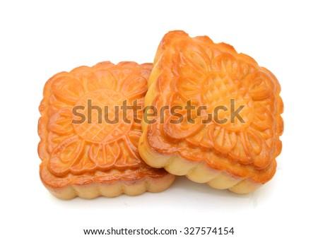 Mooncake isolated over white background - stock photo