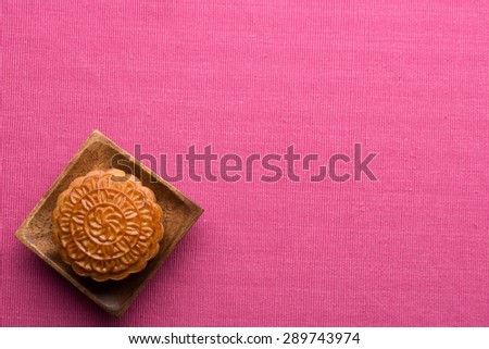 mooncake , traditional chinese foods during mid autumn festival.  angle view from above - stock photo