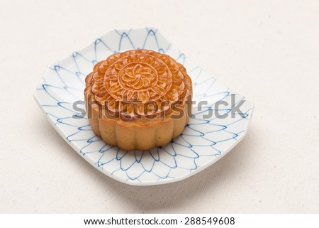 Mooncake. traditional chinese foods during mid autumn festival with copyspace - stock photo