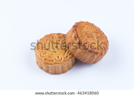 Mooncakes on white background.Chinese mid autumn festival foods.