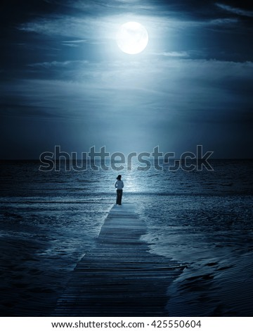 Moonlight and sea - stock photo