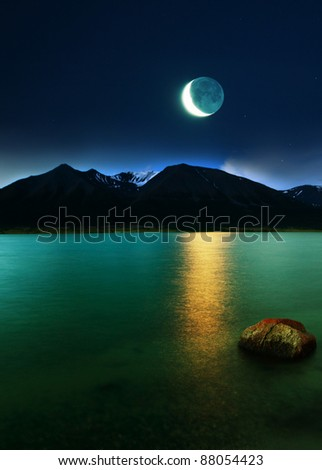 moonlight on lake - stock photo