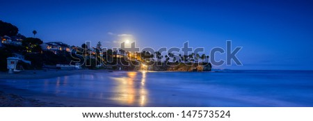 Moonlight over Laguna Beach - stock photo