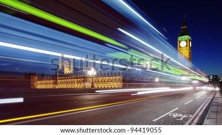 Moonlight over London and Big Ben - stock photo