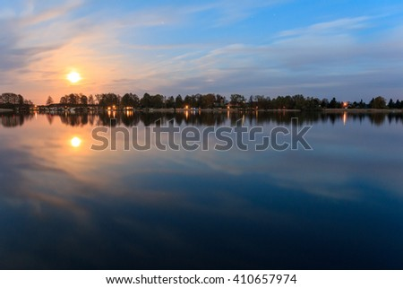 moonlight reflection in water - beautiful landscape at night