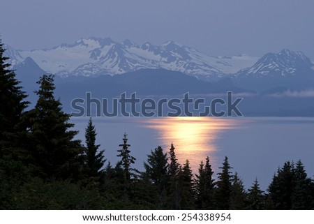 Moonlight Reflection with Mountain background