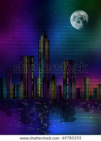 Moonlit night over the megalopolis, digital art, illustration.