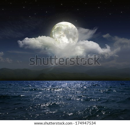 Moonlit night over the sea - stock photo