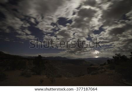 Moonlit storm east of Zion - stock photo