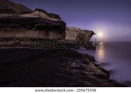 Moonrise over San Miguel Tajao, Canary Islands, Spain - stock photo