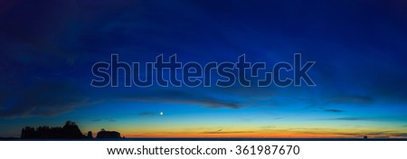 Moonrise over the Rialto beach, Oregon, USA - stock photo
