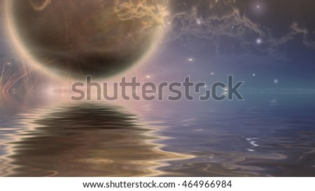 Moonrise over water 3D Render  Elements of this image furnished by NASA