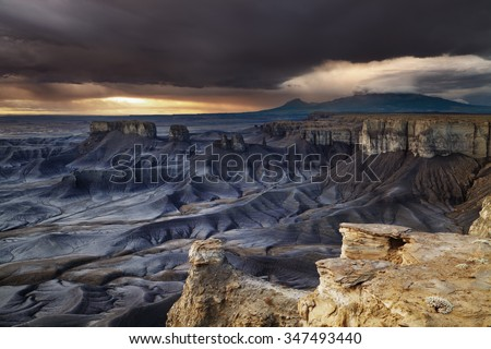 Moonscape Overlook at sunrise in Utah desert, USA - stock photo