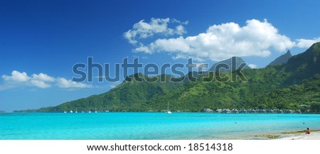 Moorea viwed from Sofitel Beach - stock photo