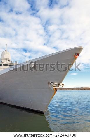 Moored battle ship with radar. - stock photo