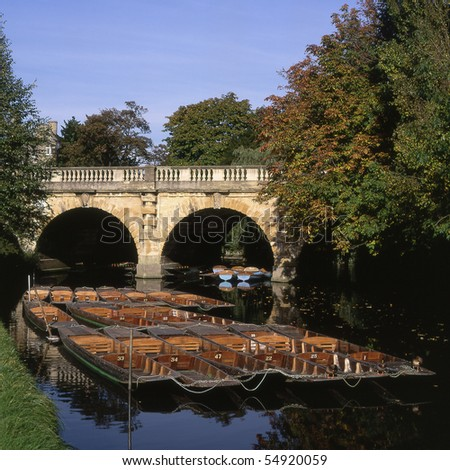 Moored punts on River Cherwell by Magdalen Bridge. Oxford. England - stock photo