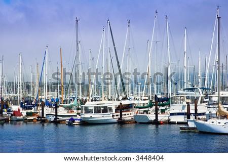 Moored sailboats in Sausalito, California harbor - stock photo