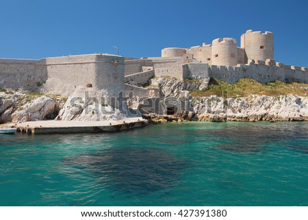 Mooring and fortress. Chateau If, Marseille, France - stock photo