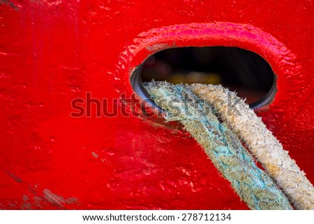 mooring line of a trawler - stock photo
