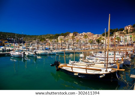 mooring line with boats and yachts in Port de Soller, Mallorca, Spain - stock photo