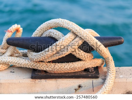 mooring rope at the port - stock photo