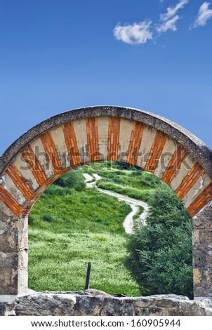 Moorish arch, Medina Azahara (Madinat al-Zahra), Near Cordoba, Andalucia, Spain, - stock photo