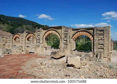 Moorish arches, Medina Azahara (Madinat al-Zahra), Near Cordoba, Cordoba Province, Andalusia, Spain, Western Europe. - stock photo