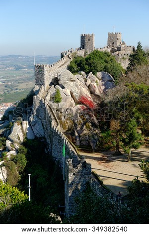 Moorish Castle (Castelo dos Mouros), military fort believed to date from 9th century of the Arab occupation. Sintra, Portugal - stock photo