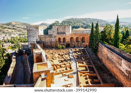 Moorish castle in Alhambra, Granada, Spain - stock photo