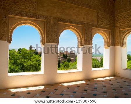Moorish pavilion and gardens of Alhambra palace, Granada, Spain - stock photo