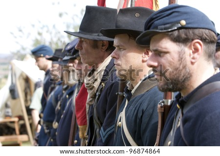 "MOORPARK, CA - NOV 13: Civil War reenactors in ""The Blue & The Gray"" event on Nov 13, 2011 in Moorpark, CA. Its the largest Civil War reenactment in the West. - stock photo"