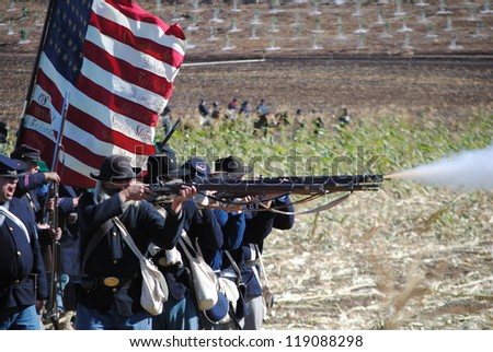 MOORPARK, CA- NOVEMBER 11: Volunteers reenact battles during the Moorpark Rotary's 12th Annual Civil War Reenactment on November 11, 2012 in Moorpark, CA. - stock photo