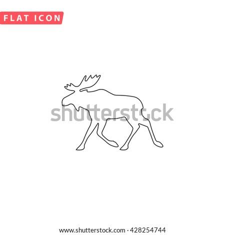 Moose. Black outline simple pictogram on white. Line icon - stock photo