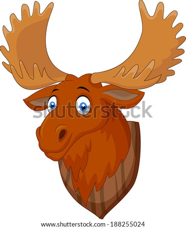 Moose head cartoon - stock photo