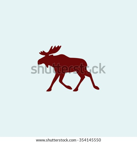Moose Red flat icon. Simple illustration pictogram - stock photo