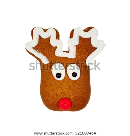 moose shaped gingerbread, isolated on white